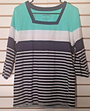 Women's New Navy Blue, White & Green Striped Top Size M by Coral Bay (02117)