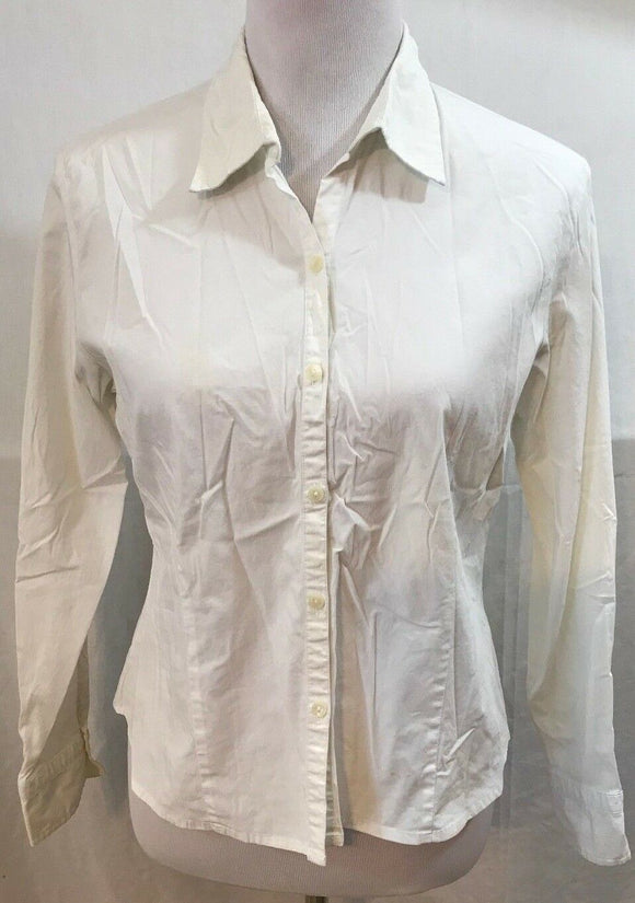 Women's Petite White Button Down Stretch Shirt Size M by Talbots Petite (03537)