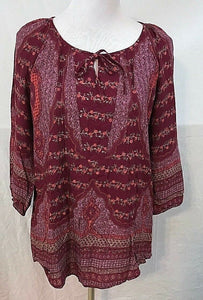 Women's Burgundy Floral Peasant Top Size S by Sonoma (03506)
