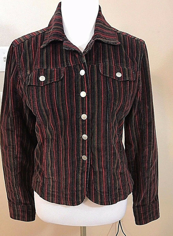 Women's Red Multi-Color Striped Jacket Size 5 by Live A Little (02921)