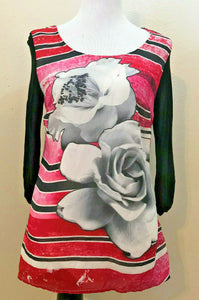 Women's Black & Red Floral Top Size S by Style&co. (04221)