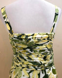 Women's Green & Yellow Floral Dress Size 6 by Banana Republic (03915)