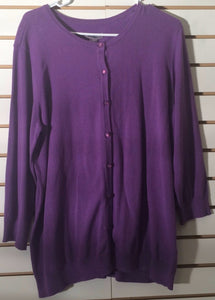 Women's NEW Purple Button Down Cotton Sweater Size XL by Laura Scott (01714)