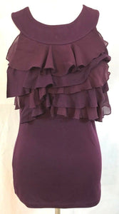 Women's Wine Colored Ruffled Layered Top Size S by Maurices (03390)