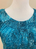 Women's Petite Blue Paisley Peasant Top Size M by INC International Concepts (03009)