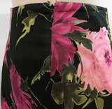 Women's Petite Black Multi-Color Floral Pleated Skirt Size 6P by Talbots Petite (03196)