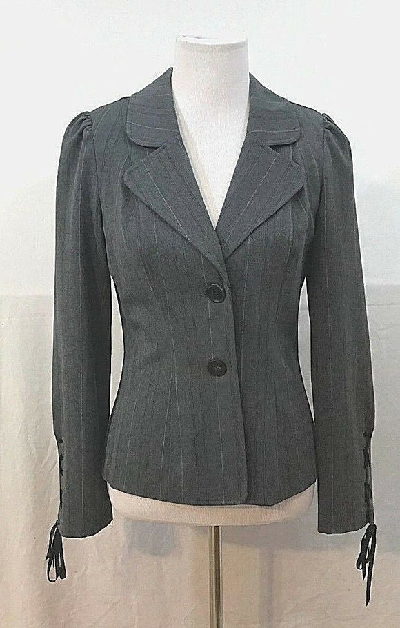 Women's Gray Striped Blazer Size M by Heart Soul (03402)