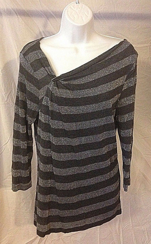 Women's Gray & Silver Striped Top Size L by Ann Taylor LOFT (02321)