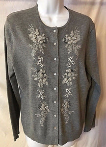 Women's Gray Floral Embellished Sweater Size 10-12 by Land's End (02700)