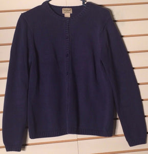 Women's Blue/Purple Cotton Sweater Size M by L.L. Bean (01527)