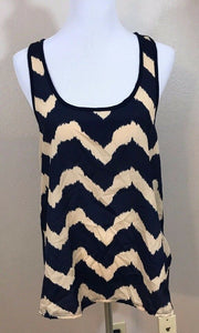 Women's Navy Blue & Tan Striped Tank Tunic Top Size XL by Bella D (02978)