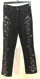 Women's Dark Blue Stretch Embroidered Jeans Size 2 by Diane Gillman (03491)