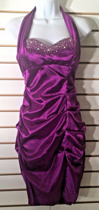 Women's Purple Halter Cocktail Dress by Blondie Nites by Stacy Sklar (02068)