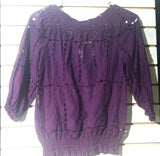 Women's Purple Eyelit Top Size 4 by INC International Concepts (01232)