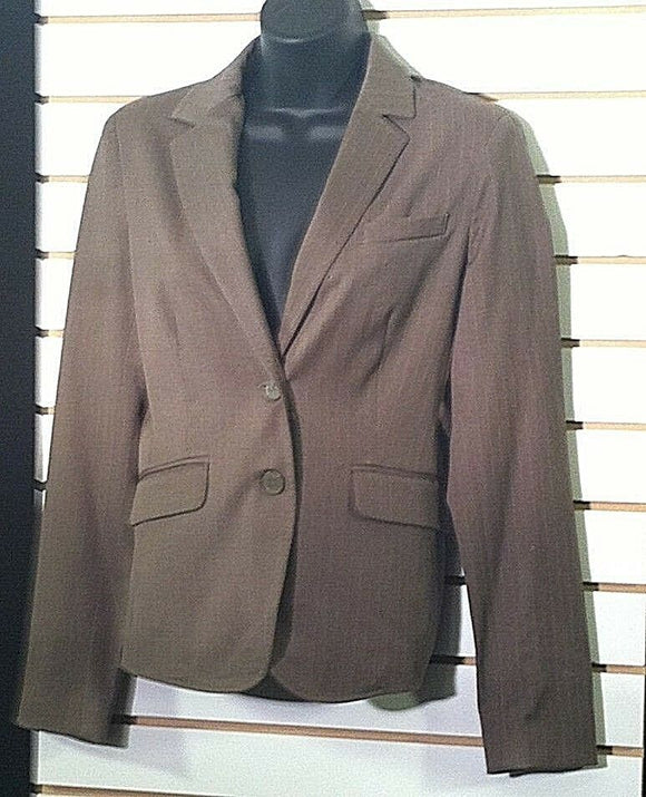 Women's Gray Pin-Striped Cropped Blazer Size 4 by New York & Co.  (00358)