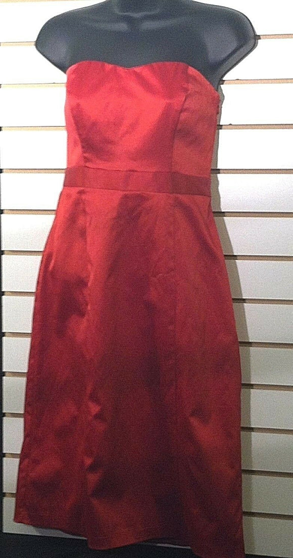 Women's Red Satin Strapless Dress by The Limited (00452)