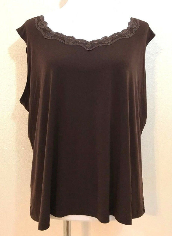 Women's Plus Size Brown Sleeveless Top Size 3X by Dressbarn Women (03962)