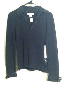Women's Black Knit & Lace Top Size M by Nine West (00640)