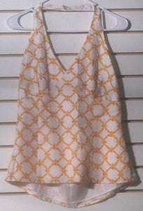 Women's Silk White & Orange Halter Top Size 6 by Grace Dane Lewis (01163)