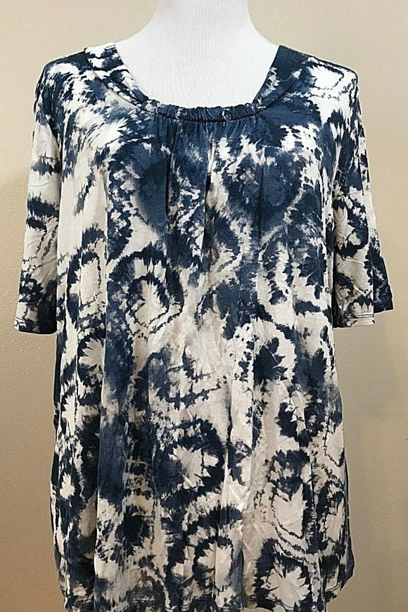 Women's Plus Size Blue & White Tie-Dyed Top Size 1X by Verve (03781)