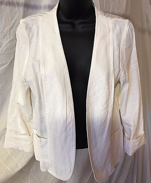 Women's White Linen Blend Blazer Size M by LBK (02497)