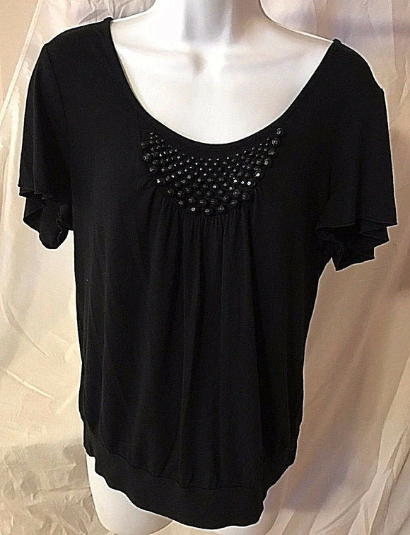 Women's Petite Black Beaded Knit Top Size L by Cable & Gauge Petite (02559)
