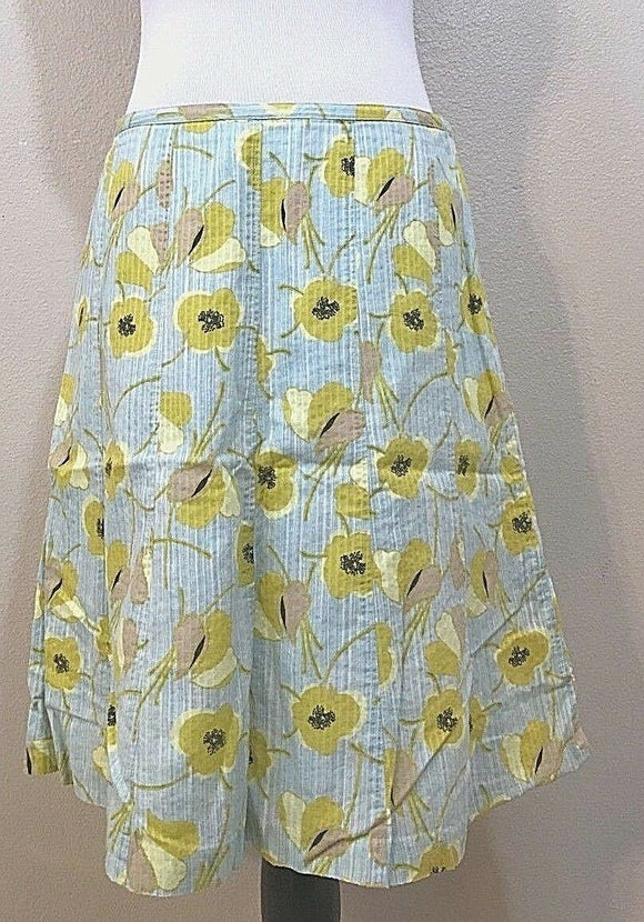 Women's Blue & Yellow Floral Skirt Size 10 by Sigrid Olsen (03809)