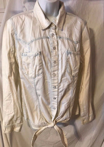 Women's Bluish Snap Down Tied Bottom Shirt Size 14 by INC International Concepts (02835)