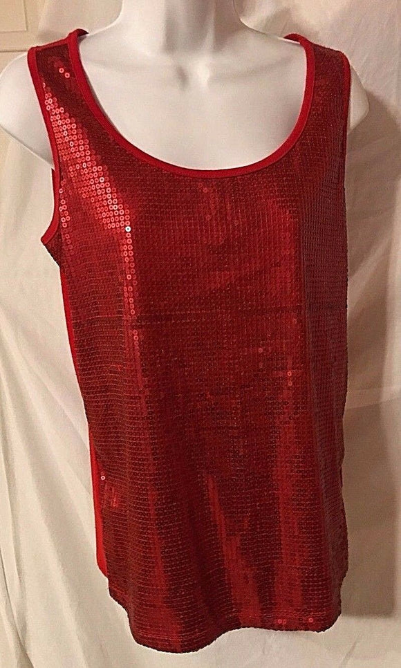 Women's Red Sequined Tank Top Size S by Studio JPR (02870)