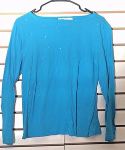 Women's Aqua Blue Embellished Top Size L by DG2 Diane Gilman (02149)