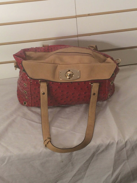 Women's Red & Tan Textured Shoulder Bag (P129)