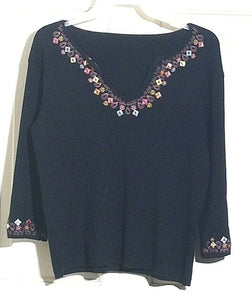 Women's Black Knit Embellished Top Size S (00633)