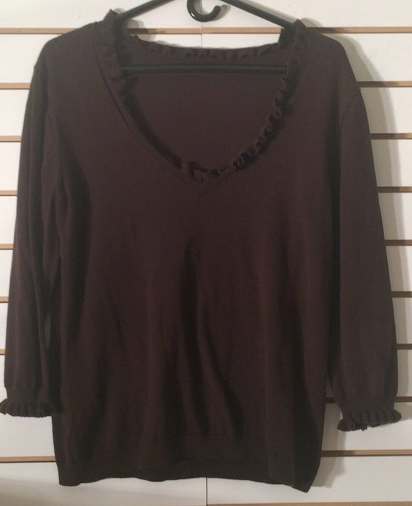 Women's Long Sleeve Brown V-Neck Knit Top Size XL (01828)