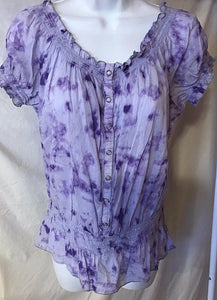 Women's Purple Tie Dye Peasant Top Size M by Nine West Jeans (02694)