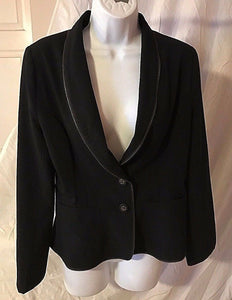 Women's Black Decorative Zipper Embellished 2 Button Blazer by WD*NY (02495)