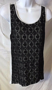 Women's Gray & Black Lace Tank Top Size L by Design History (02738)