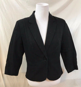 Women's Black Cotton Blazer Size M by Fenn Right Manson (03099)