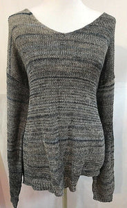Women's Gray & Blue V-Neck Knit Top Size XL by Max Studio (03354)