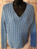 Women's Petite Blue V-Neck Fisherman's Sweater Size SP by Liz Claiborne Petite (02477)