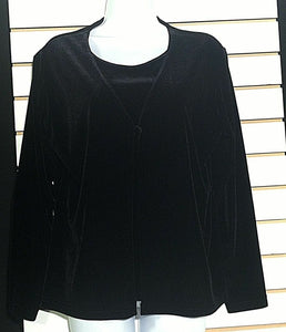 Women's Black Velvet 2 Piece Attached Velvet Top Size M by Lisa Jospehs (00717)