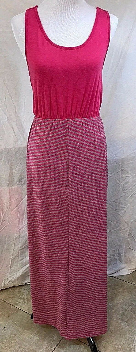 Women's Hot Pink & Gray Striped Long Dress Size S by Just Be (03064)