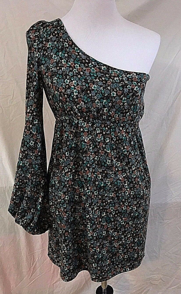 Women's New Green Multi-Color Floral One Sleeve Dress Size S by Judith March (03029)