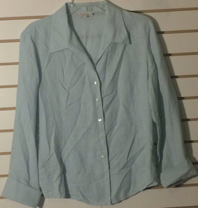 Women's Pale Green Linen Button Down Shirt Size 9 by British India Traveller (01458)