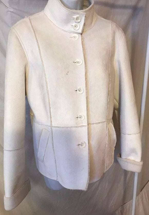 Women's Cream Suede Faux Suede Jacket Size M by Style & Co. (02768)