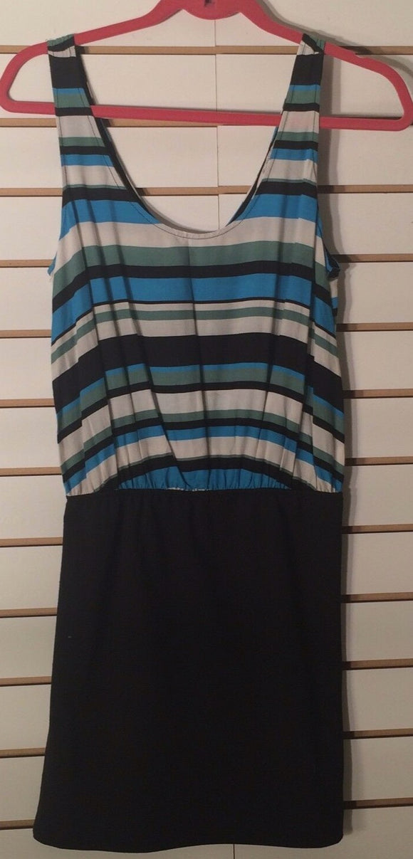 Women's Blue Striped & Black Dress Size M by Zara TRF (01665)