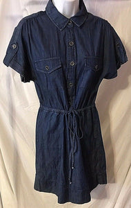 Women's Blue Denim Button Down Dress Size S by BeBop (02841)