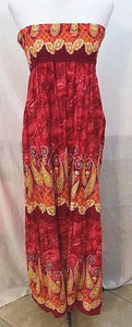 Women's Red Strapless Multi-Color Paisley Long Dress Size S (03456)
