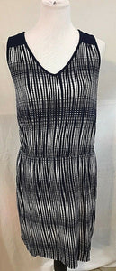 Women's Navy Blue Checked V-Neck Front Dress Size L by Deletta (03370)