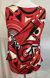 Women's Red Multi-Color Top Size 1 by Chico's (03328)