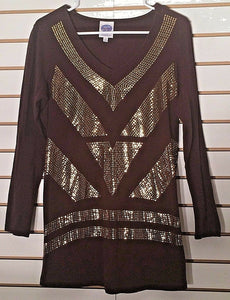 Women's Brown & Gold Embellished Top Size S by Diane Gilman (02139)